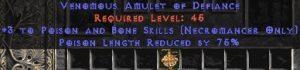 Necromancer Amulet - 3 P&B Spells & 75% PLR
