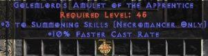 Necromancer Amulet - 3 Summoning Spells & 10% FCR