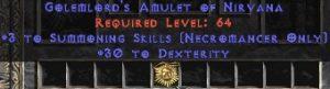Necromancer Amulet - 3 Summoning Spells & 30 Dex