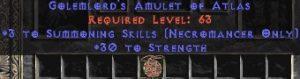 Necromancer Amulet - 3 Summoning Spells & 30 Str