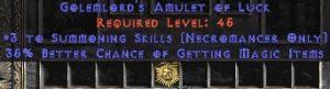 Necromancer Amulet - 3 Summoning Spells & 35% MF