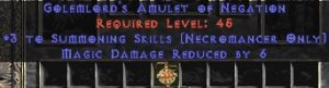 Necromancer Amulet - 3 Summoning Spells & 6 MDR