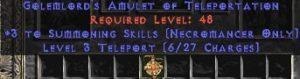 Necromancer Amulet - 3 Summoning Spells & Teleport