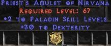Paladin Amulet - 2 All Pal Skills & 30 Dex
