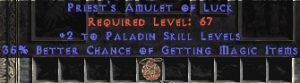 Paladin Amulet - 2 All Pal Skills & 35% MF