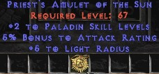 Paladin Amulet - 2 All Pal Skills & 5% AR