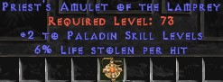 Paladin Amulet - 2 All Pal Skills & 6% LL