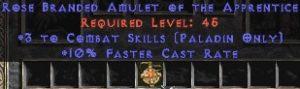 Paladin Amulet - 3 Combat Skills & 10% FCR