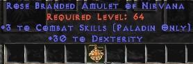 Paladin Amulet - 3 Combat Skills & 30 Dex