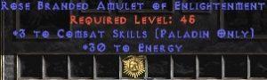 Paladin Amulet - 3 Combat Skills & 30 Energy