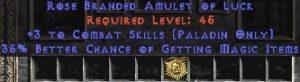 Paladin Amulet - 3 Combat Skills & 35% MF