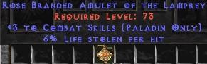 Paladin Amulet - 3 Combat Skills & 6% LL