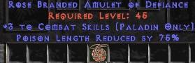 Paladin Amulet - 3 Combat Skills & 75% PLR