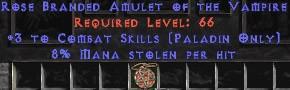 Paladin Amulet - 3 Combat Skills & 8% ML