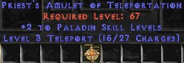 Paladin Amulet - 2 All Pal Skills & Teleport