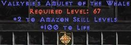 Amazon Amulet – 2 All Zon Skills & 100 Life