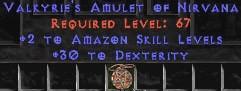 Amazon Amulet – 2 All Zon Skills & 30 Dex