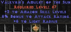 Amazon Amulet – 2 All Zon Skills & 5% AR