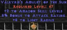 Amazon Amulet – 2 All Zon Skills & 5% AR