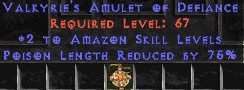 Amazon Amulet – 2 All Zon Skills & 75% PLR