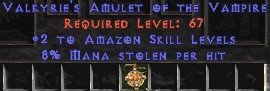 Amazon Amulet – 2 All Zon Skills & 8% ML
