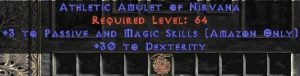 Amazon Amulet – 3 Passive/Magic Skills & 30 Dex