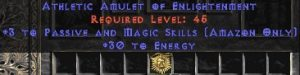 Amazon Amulet – 3 Passive/Magic Skills & 30 Energy