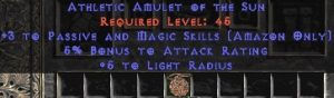 Amazon Amulet – 3 Passive/Magic Skills & 5% AR