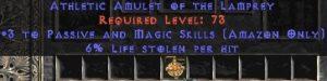 Amazon Amulet – 3 Passive/Magic Skills & 6% LL