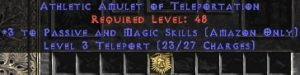 Amazon Amulet – 3 Passive/Magic Skills & Teleport