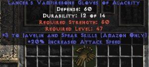 Amazon Gloves – 3 Javelin/Spear Skills & 20% IAS